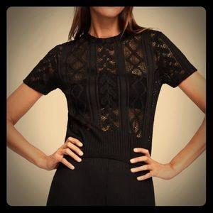 NWT's Zara Lace T-Shirt Size M Medium